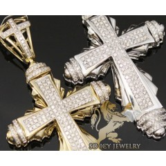 1.80ct 14k White Gold Diamond classic Pave Cross