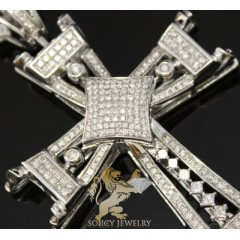 1.60ct 14k White Gold round Diamond Square Cross