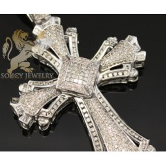 3.90ct 14k White Gold triple Diamond Pave Cross