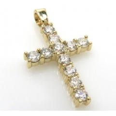 1.05ct 18k Solid Yellow Gold white Round Xl Diamond Mini Cross