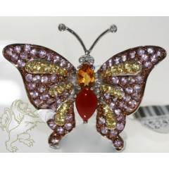 3.00ct Round Cut Sapphire Butterfly Pendant Ladies 14k Solid White Gold