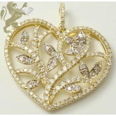 0.85ct Ladies 14k Solid Yellow Gold Diamond prong Devine Heart Pendant