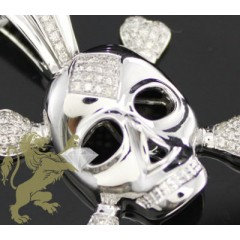 0.65ct 14k Yellow Or White Gold Diamond skull Pendant