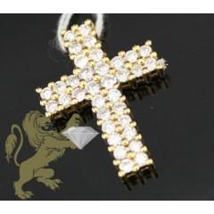 0.75ct 18k Yellow Gold Diamond mini Prong Cross