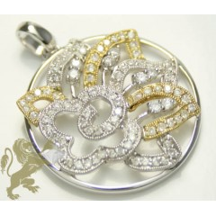 0.75ct Ladies 14k Solid Two Tone Gold Gold Diamond round Star & Flower Pendant