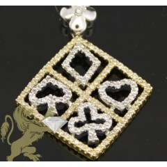 0.80ct 14k Solid Yellow Gold Diamond poker Pendant
