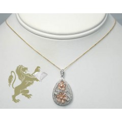 0.60ct Ladies 14k Solid White & Rose Gold round Diamond Tear Drop Charm