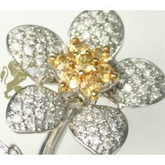 0.85ct 14k Solid White Gold white Diamond/ Yellow Sapphire Flower Pendant