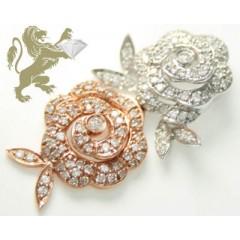 0.95ct 14k Solid White & Rose Gold Diamond two Tone Flower Pendant