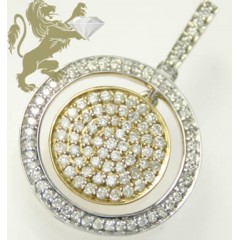 0.65ct 14k Solid Two Tone Gold white Diamond Circle Pendant