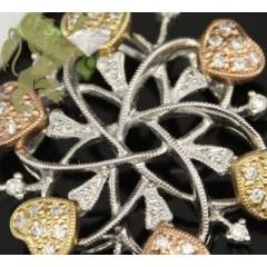 0.35ct 14k Tri Color Gold Diamond hearts Pendant
