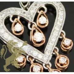 0.85ct 14k White Gold Diamond chandelier Rose Heart Pendant