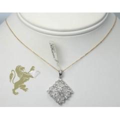 0.35ct Ladies 14k Solid White Gold round Diamond Sqaure Pendant
