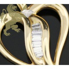 0.35ct 14k Yellow Gold Diamond mini Baguette Heart Pendant