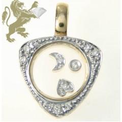 0.25ct Ladies 14k Solid Yellow Gold round Floating Diamond Traingle Pendant