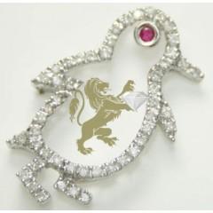 0.30ct 18k Solid White Gold Diamond red Eye Penguin Pendant