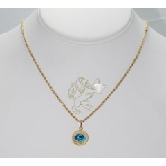 14k solid yellow gold sky blue evil eye pendant