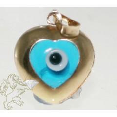 14k Solid Yellow Gold Sky Blue Evil Eye Heart Charm