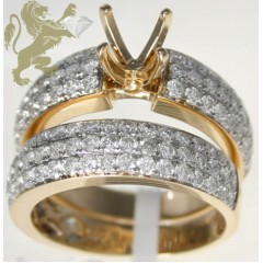 2.30ct Ladies 14k Solid Yellow Gold Diamond Engagement Ring dual Pave Semi Mount