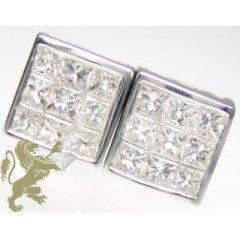 1.75ct 14k Solid White Gold Diamond Invisible White Princess Cut 3 Row Earrings