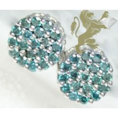 0.65ct 14k White Gold Round Diamond blue Cluster Earrings