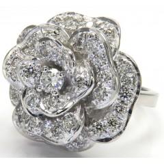 2.00ct 14k Solid White Gold white Diamond Flower Ring