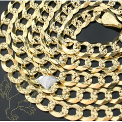 10k Yellow Gold Cuban Yellow Pave Chain 22 Inch 7mm