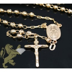 14k Yellow Gold Diamond Cut Rosary 29 Inch 3.8mm