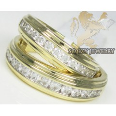 2.00ct 14k Yellow Gold round Diamond Wedding Bands Set