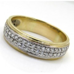 0.75ct 14k Yellow Gold 2 Row Round Diamond Band