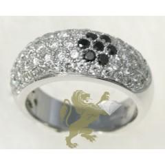 2.00ct Ladies 14k Solid White Gold black Sunflower Diamond Band