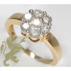 1.00ct Ladies 14k Solid Yellow Gold round Cut Flower Ring