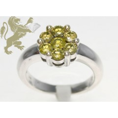 1.00ct Ladies 14k Solid White Gold canary Round Cut Flower Ring