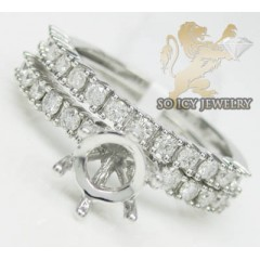 0.85ct 14k White Gold round Diamond Semi Mount Ring Set