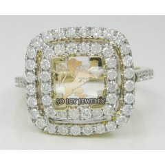 1.50ct 14k Yellow Gold Diamond square Crown Semi Mount Ring