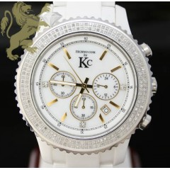 3.00ct Mens Techno Com By Kc Genuine Diamond Watch white Ceramic Diamond Link Band