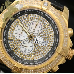 2.00ct Mens Techno Com By Kc Genuine Diamond Watch yellow Case Big Bezel