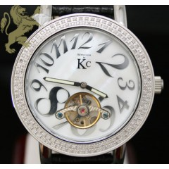 1.50ct Techno Com By Kc Genuine Diamond Watch white Pearl Dial/ Tourbillon