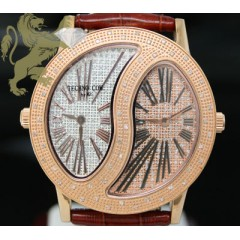 0.50ct Mens Techno Com By Kc Genuine Diamond Watch rose Stainless Steel Case 2 Time Zones