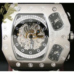 0.60ct Mens Techno Com By Kc Genuine Diamond Watch skeleton 3 Time Zones