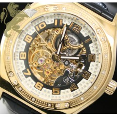 0.20ct Mens Techno Com By Kc Genuine Diamond Watch skeleton Face
