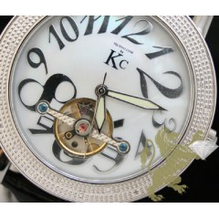 0.30ct Mens Techno Com By Kc Genuine Diamond Watch white Pearl Dial/ Tourbillon