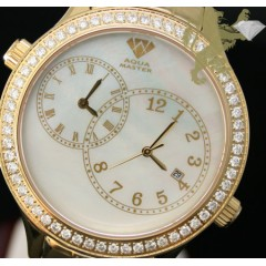 2.45ct Mens Aqua Master Genuine Round Diamond 2 Time Zones White Pearl Dial Yellow S.s Watch