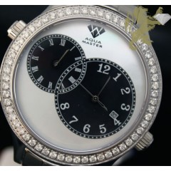 2.45ct Mens Aqua Master Genuine Round Diamond 2 Time Zones Black & White Pearl Dial Watch