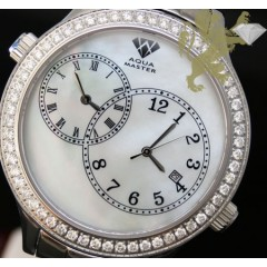 2.45ct Mens Aqua Master Genuine Round Diamond 2 Time Zones White Pearl Dial Watch