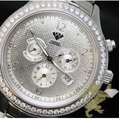 2.45ct Mens Aqua Master Genuine Round Diamond metallic Silver Dial Watch