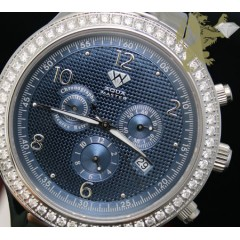 2.45ct Mens Aqua Master Genuine Round Diamond metallic Blue Dial Watch