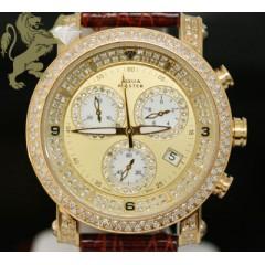 2.20ct Ladies Aqua Master Genuine Diamond Watch yellow Case W/ Brown Band