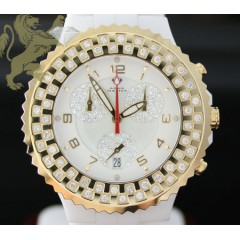 1.25ct Unisex Aqua Master Genuine Diamond Watch yellow Bezel/ White Ceramic