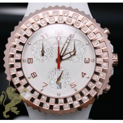 1.25ct Unisex Aqua Master Genuine Diamond Watch rose Bezel/ White Ceramic
